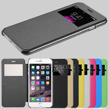 Ultra Thin Slim Fold Leather Wallet View Window Skin Flip Cover Case For iPhone