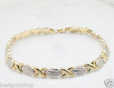Diamond Cut Hugs & Kisses Bracelet Genuine REAL 10K Yellow White TwoTone Gold