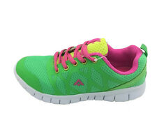 Girls Youth Shoes Aerosport Laceup Runner Zip Joggers Green/Pink/Y Size 13-5