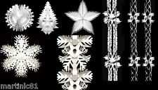 WHITE CHRISTMAS FOIL GARLAND FROZEN XMAS HANGING SWIRLS CEILING DECORATIONS SNOW