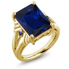 10.04 Ct Simulated Sapphire Blue Sapphire 18K Yellow Gold Plated Silver Ring