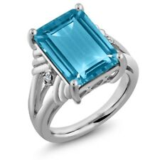9.74 Ct Octagon Swiss Blue Topaz White Topaz 925 Sterling Silver Ring