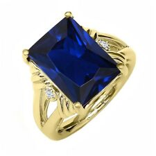 10.03 Ct Octagon Blue Simulated Sapphire 18K Yellow Gold Plated Silver Ring