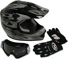 Youth ATV Motocross Dirt Bike Black Silver Flame Helmet w/Goggles/Gloves~S M L