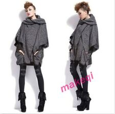 Womens Trench Coat Fashion Striped Poncho Batwing Loose Cape Overcoat Black Size