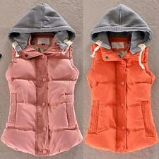 Candy Color Lady Down Jacket Coat Hooded Thicken Warm Vest Cotton Waistcoat J63