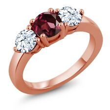 2.50 Ct Round Red Rhodolite Garnet 18K Rose Gold Plated Silver Ring