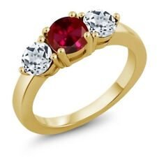 2.20 Ct Round Red Created Ruby White Topaz 18K Yellow Gold Plated Silver Ring