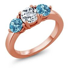 2.20 Ct Round White Topaz Swiss Blue Topaz 18K Rose Gold Plated Silver Ring