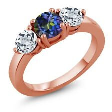2.00 Ct Round Blue Mystic Topaz White Topaz 18K Rose Gold Plated Silver Ring
