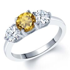2.30 Ct Round Champagne Quartz 925 Sterling Silver Ring