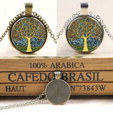 Vintage Tree of Life Cabochon Silver/Bronze Plated Glass Chain Pendant Necklaces