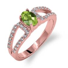 1.48 Ct Oval Checkerboard Green Peridot 18K Rose Gold Plated Silver Ring