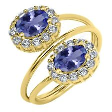 2.28 Ct Oval Blue Tanzanite AAAA 18K Yellow Gold Plated Silver Ring