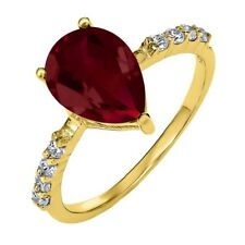 3.24 Ct Pear Shape Red Created Ruby 18K Yellow Gold Plated Silver Ring