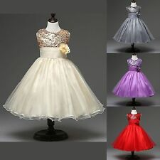 Flower Girls Sequin Glitter Beaded Dress Christmas Pageant Graduation Dress