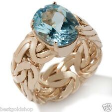Technibond Real Blue Topaz Byzantine Band Ring 14K Yellow Gold Clad Silver HSN