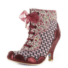Womens Irregular Choice Dolly Mixture Grey Pink Lace Up Ankle Boots Shoe Uk Size