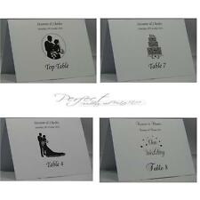 Personalised A6 White Wedding Table Number Name Card Tentfold Silhouette Design