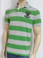 American Eagle Outfitters 4 Double Logo Mens Green Gray Stripe Polo Shirt  NWT