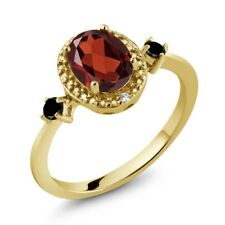 1.34 Ct Oval Red Garnet Black Diamond 18K Yellow Gold Plated Silver Ring