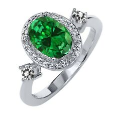 2.24 Ct Oval Green Simulated Emerald White Diamond 925 Sterling Silver Ring