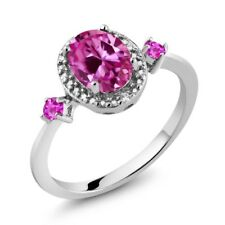 Pink Created Sapphire Pink Sapphire 925 Sterling Silver Ring With Accent Diamond