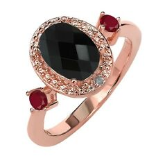 1.37 Ct Oval Checkerboard Black Onyx Red Ruby 18K Rose Gold Plated Silver Ring