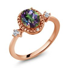 1.47 Ct Oval Green Mystic Topaz White Topaz 18K Rose Gold Plated Silver Ring