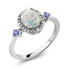 1.22 Ct Oval Cabochon White Opal Blue Tanzanite 925 Sterling Silver Ring