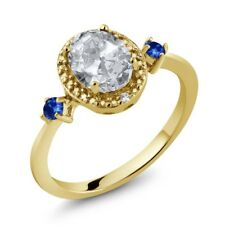 1.47 Ct Oval White Topaz Blue Sapphire 18K Yellow Gold Plated Silver Ring