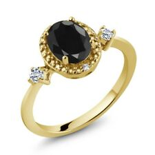 1.83 Ct Oval Black Sapphire White Topaz 18K Yellow Gold Plated Silver Ring