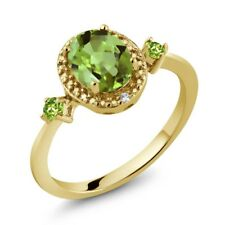 1.48 Ct Oval Green Peridot 18K Yellow Gold Plated Silver Ring