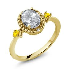 1.48 Ct Oval White Topaz Yellow Sapphire 18K Yellow Gold Plated Silver Ring