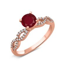 1.50 Ct Round Red Ruby 14K Rose Gold Engagement Ring
