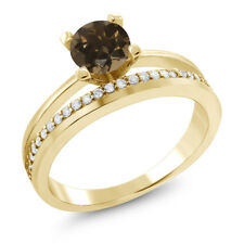 1.05 Ct Round Brown Smoky Quartz 18K Yellow Gold Plated Silver Ring