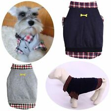Dog Cat Grid Sweater Puppy Warm Coat T-Shirt Pet Clothes POLO Dog Apparel Hot AS