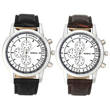 Geneva Casual Men Watch Business Design Dial Leather Analog Quartz Wrist Watch