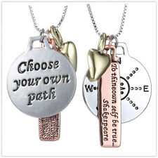 """New Arrival Tri-Color """"Choose Your Own Path"""" Reversible Three-Charm Necklace 18"""""""