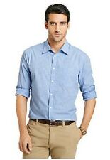 Van Heusen Mens Blue Plaid Button-down Shirt Long Sleeve Office Shirt