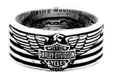 Harley-Davidson Men's Eagle & Stripes Band Ring, Sterling Silver HDR0381