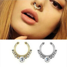 1Pc Fake Septum Clicker Crystal Nose Ring Non Piercing Hanger Clip On Jewelry d