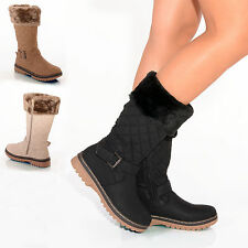LADIES WOMENS WINTER  BOOTS SNOW FUR CUFF FAUX LEATHER FLAT MID CALF SHOES SIZE