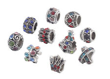 10PCS Mixed Colors Rhinestone Charm Beads Fit European Bracelet #91860