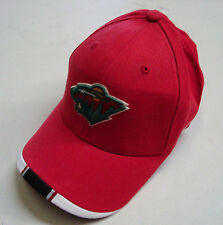 REEBOK NHL MINNESOTA WILD BIG LOGO RED ADJUSTABLE HAT CAP BRAND NEW