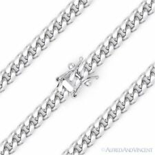 5.1mm Miami Cuban Curb Link Italy .925 Sterling Silver w/ Rhodium Chain Necklace