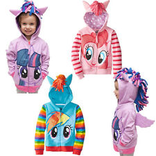 Kid Girls Boys Hoodies Outwear My Little Pony Wing Sweatshirt Coat Zipper Jacket