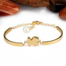 Lady Stainless Steel Titanium Gold Silver charm lovely bear Bangle Bracelet A2EW