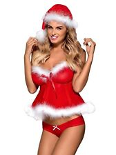 OBSESSIVE Merrily Babydoll Thong Santa Holiday Set Sexy European Lingerie