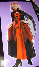 Deluxe Devil Red Dress Costume Cape Dress-up 4-6 5-7 NWT